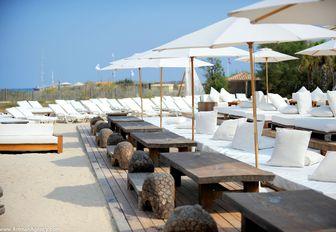 sun loungers at Le Club 55, St Tropez, France