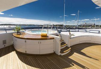 Jacuzzi on sundeck of luxury yacht 'Blue Moon'