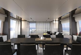 formal dining table in the main salon of motor yacht December Six