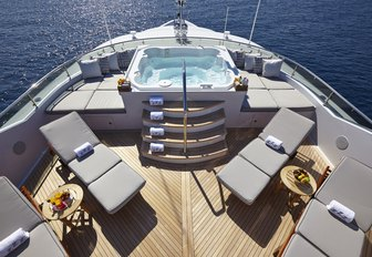The sundeck and Jacuzzi on board M/Y Zoom Zoom Zoom