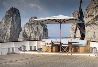 Shaded seating area on deck of explorer yacht 'Blue II'
