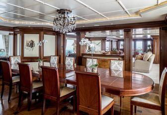 grand dining salon on board superyacht CALYPSO