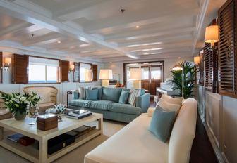 sofas in the main salon of classic yacht Haida 1929