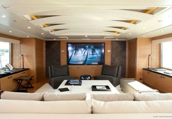 sumptuous skylounge serves as a cinema aboard motor yacht SPIRIT
