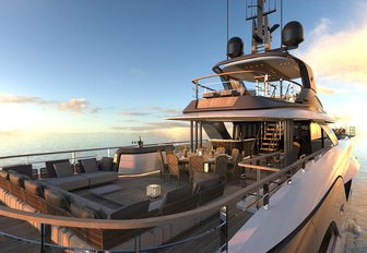 the upper decks of motor yacht geco with sun loungers and sunfeack
