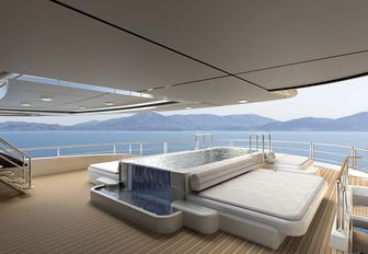 A rendering of the exterior pool on board superyacht O'PTASIA