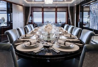 glamorous dining area in the main salon on board luxury yacht TURQUOISE