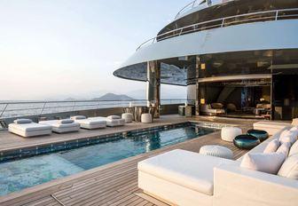 swimming pool on the aft deck of luxury yacht Savannah
