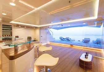 The beach club and swim platform featured on board superyacht O'PTASIA