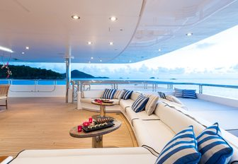 comfortable seating on aft deck of luxury yacht TITANIA