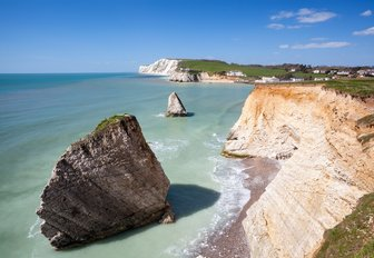 coast of the isle of wight, pretty rocks and chalky cliffs