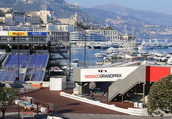 seating is erected nearby Port Hercules for the Monaco Grand Prix