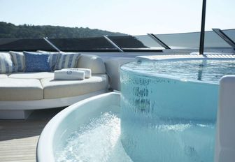 A close-up image of the Jacuzzi situated on the sundeck of superyacht SYMPHONY