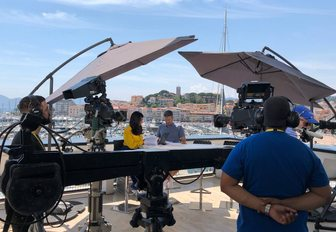 presenters filming content for Digital Pass at Cannes Lions