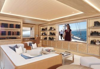 A graphic rendering of the movie theater on board superyacht Cloud 9