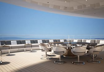 Seating and a table on board motor yacht 'Grace E'