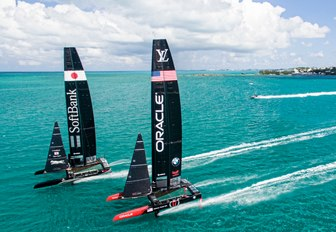 SoftBank Team Japan and Oracle Team USA sail side-by-side in Bermuda