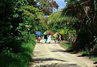 Women walking on Malo Island, Vanuatu