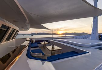 foredeck lounging area on board luxury yacht 'Northern Sun'