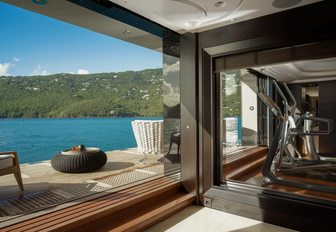 drop-down terrace on the lower deck of superyacht KISMET
