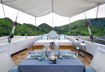 alfresco dining for two aboard charter yacht ALEXA