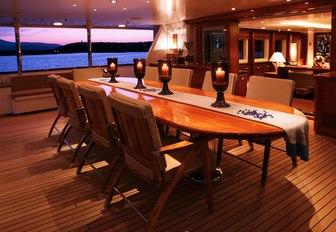 The alfresco dining arrangement featured on board superyacht PEGASUS