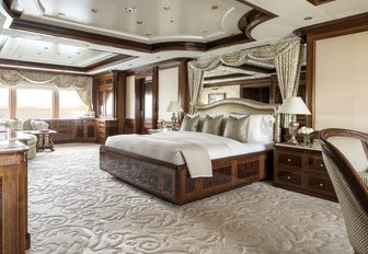 classically styled master suite aboard motor yacht TITANIA