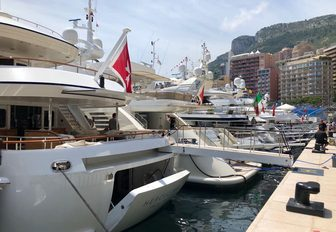 Yachts lined up for the Monaco Grand Prix 2018