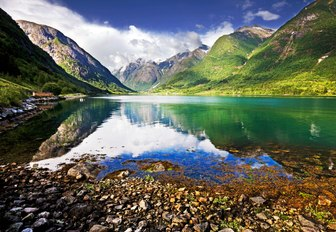 A landscape view of a Norwegian fjord.
