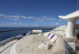 unique water bed on the sundeck of motor yacht DENIKI