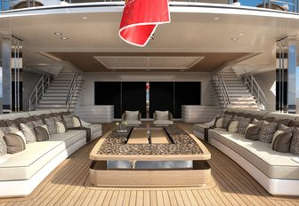 Covered outdoor area on deck of Superyacht LANA with sofas and large table area