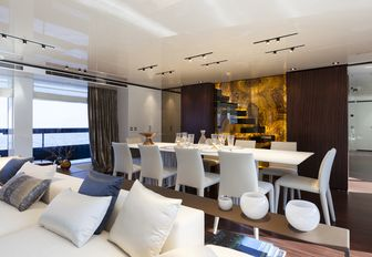 formal dining on board charter yacht 'Lucky Me'