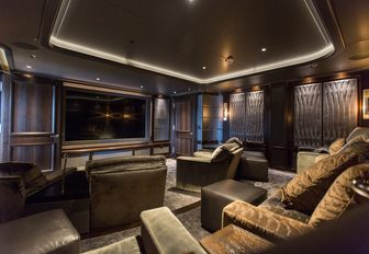 The newly installed home cinema on board superyacht AQUILA