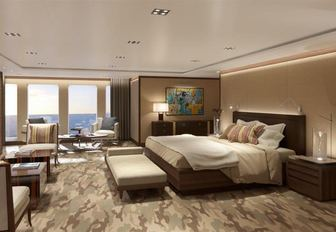superyacht Planet Nine yacht master suite with full-length windows