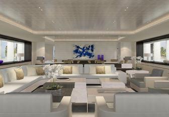 The bright white furnishings inside superyacht 'Grace E'