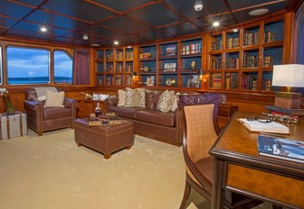 The private library on board luxury yacht Lady Victoria