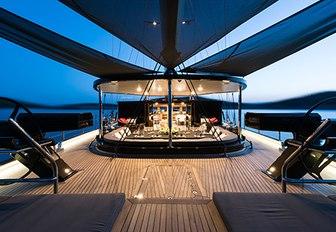 The sundeck of luxury yacht ROXSTAR