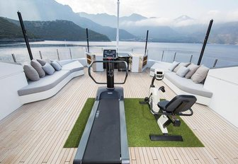 The outdoor gymnasium featured on board superyacht OURANOS