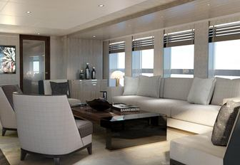Comfortable seating with windows and blinds in background on superyacht MOSKITO