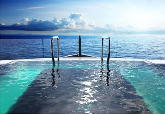 Pool on board megayacht SOLO with views over the sea