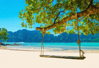 Swing hanging from tree above white sand beach in the Phi Phi islands