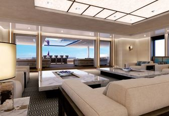 light and airy main salon with sofas and coffee tables aboard superyacht Illusion Plus