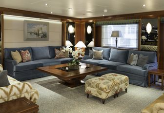sociable seating area in main salon aboard charter yacht 'Lauren L'