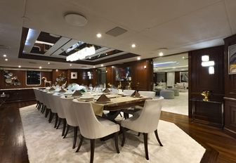 View of formal dining table on Superyacht CHAKRA