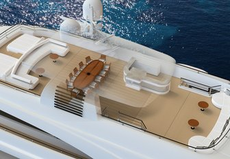 Graphic rendering of the exterior of superyacht O'PTASIA