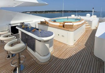 bar and Jacuzzi on the sundeck of charter yacht JAGUAR