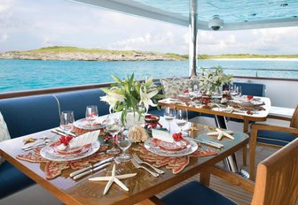 aft deck seating area on board charter yacht Lady Joy