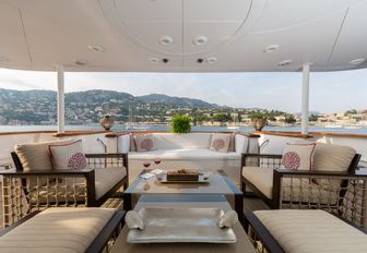 Salon area overlooking the ocean aboard motor yacht BINA