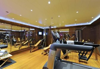 The fully equipped gym inside superyacht TV