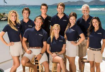 Crew at bar in Motor Yacht OHANA